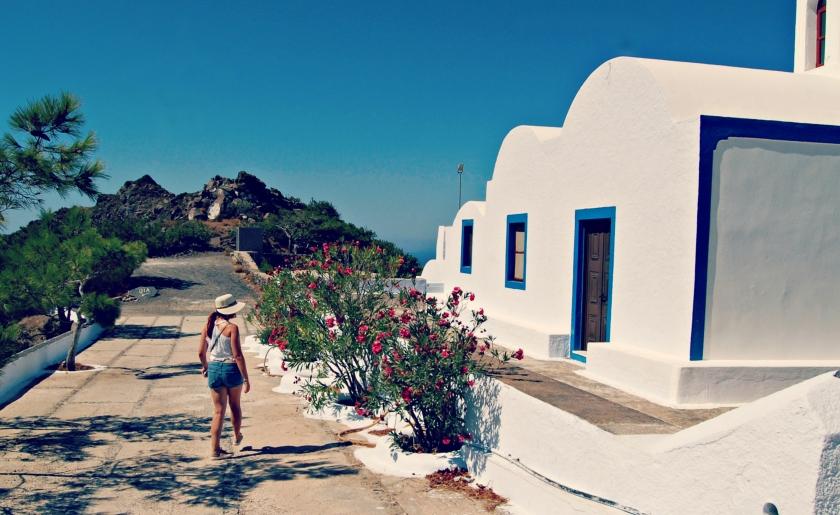 Along the path from FIra to Oia, Santorini, Greece