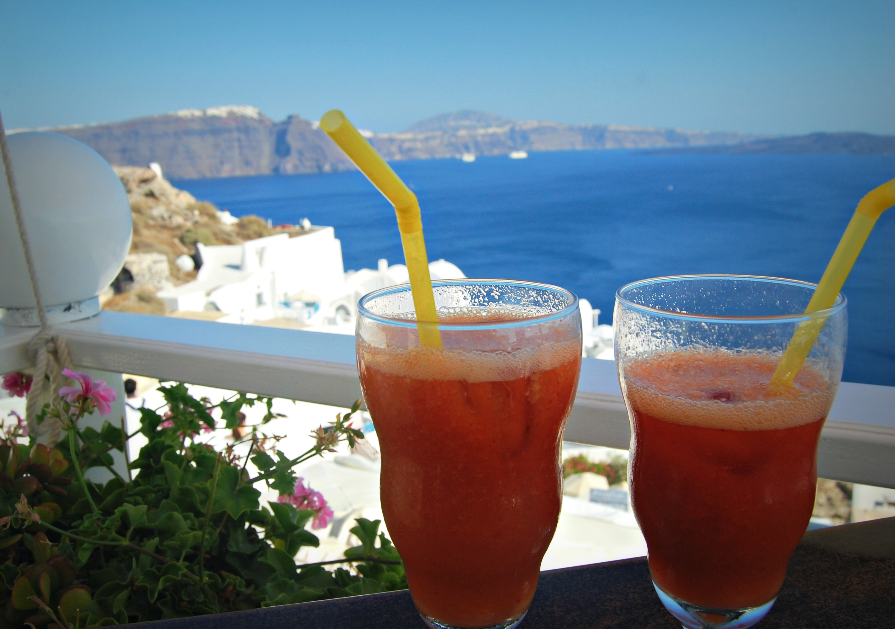 Drinks in Oia, Santorini, Greece