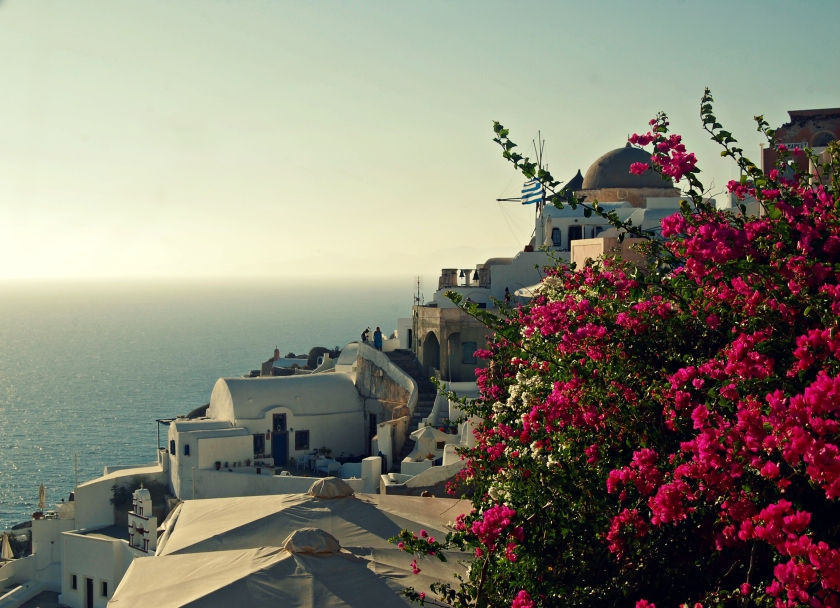 A floral view of Oia, Santorini, Greece