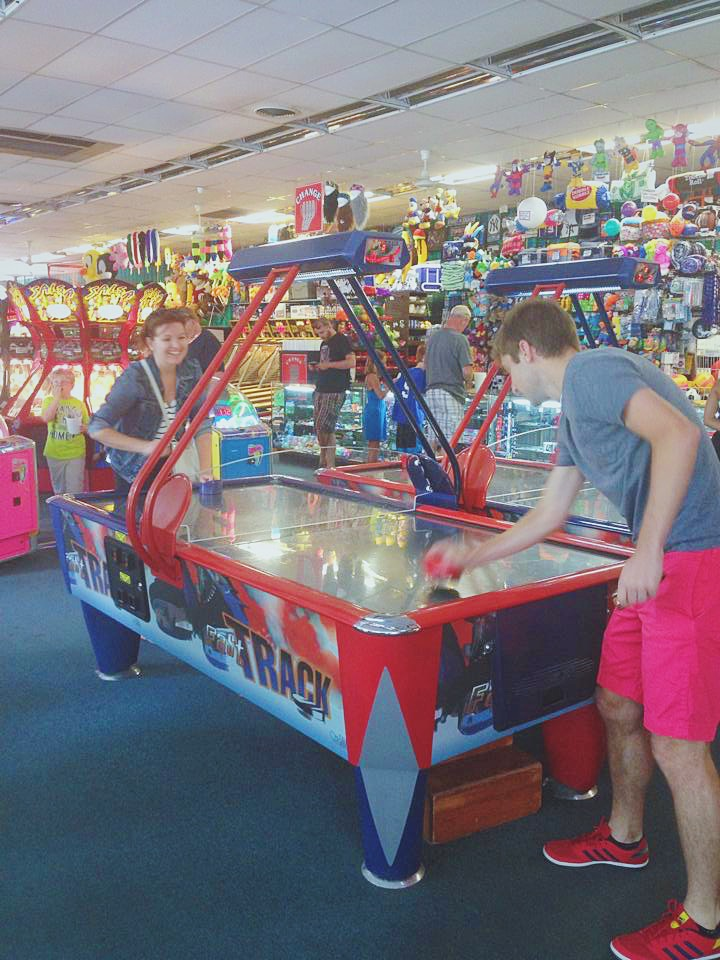 Lake George arcade, air hockey