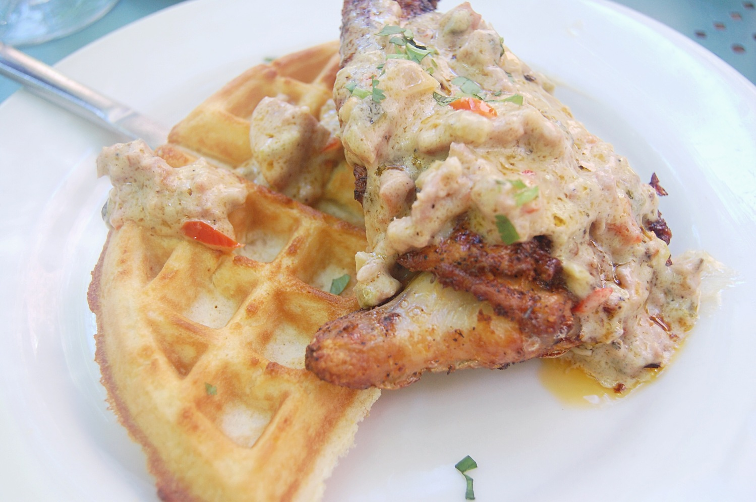 Chicken and waffles from Cafe Amelie, New Orleans