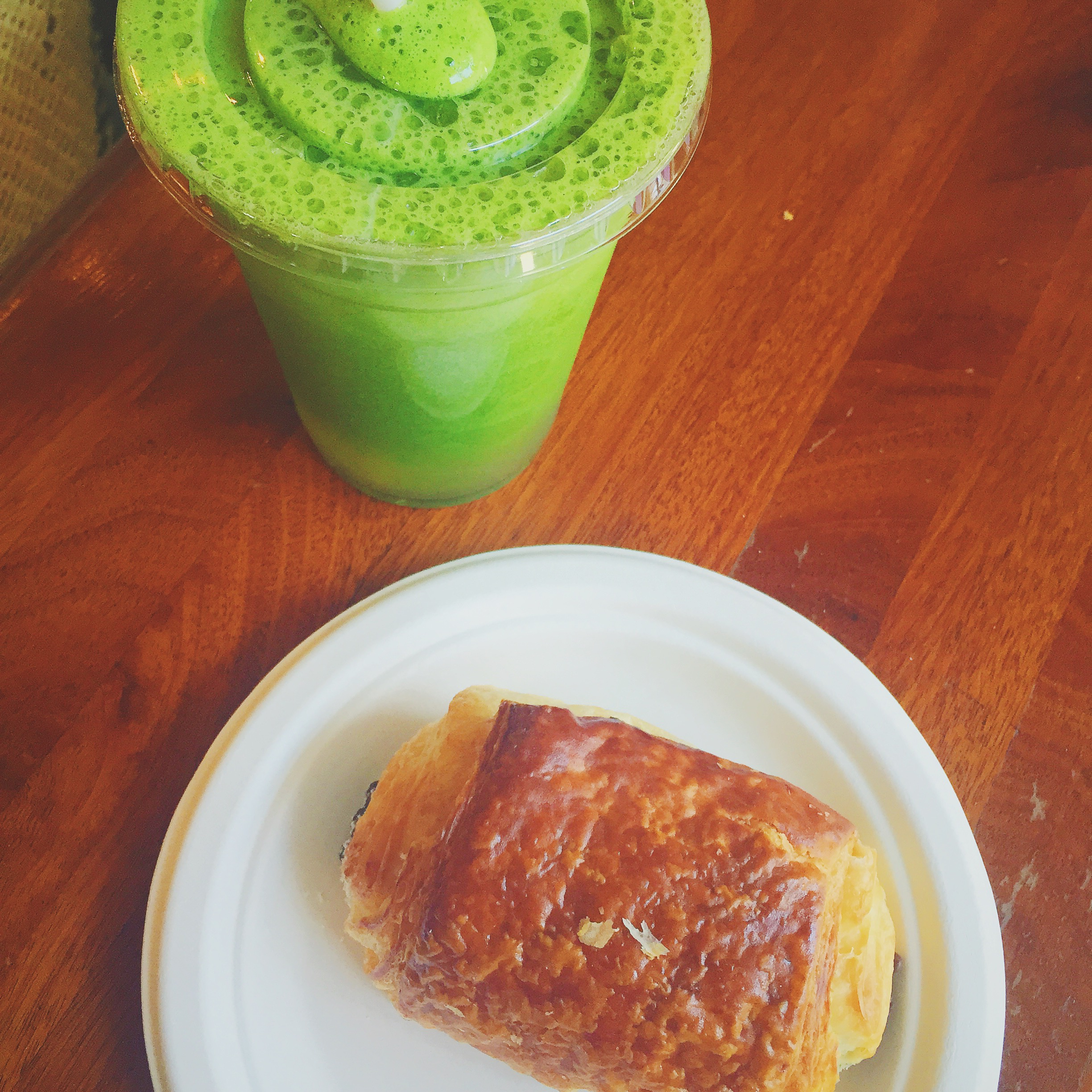 Mint Julep green juice and a chocolate croissant from Petite Amelie, New Orleans, La