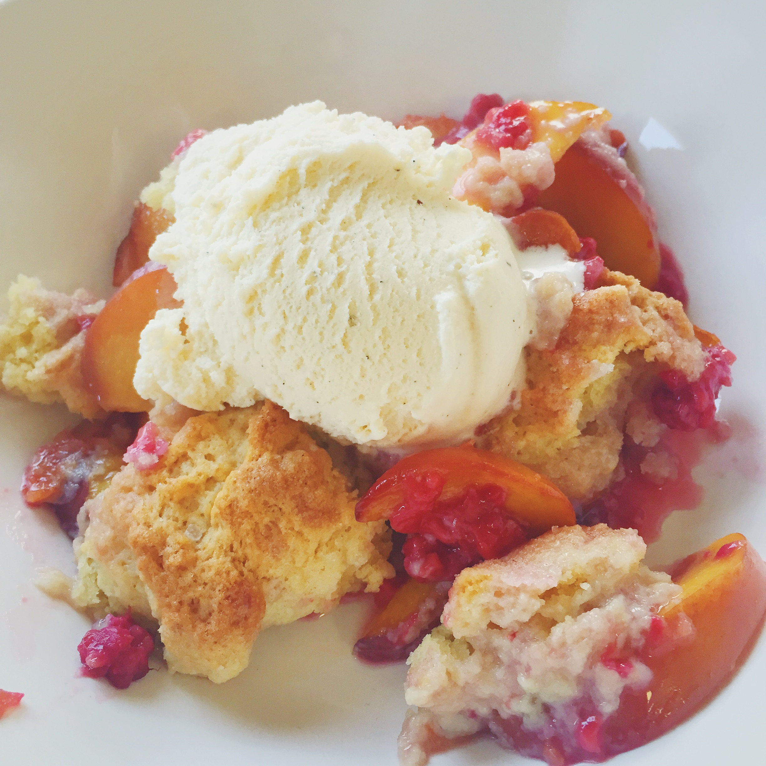 Nectarine-Raspberry Cobbler recipe