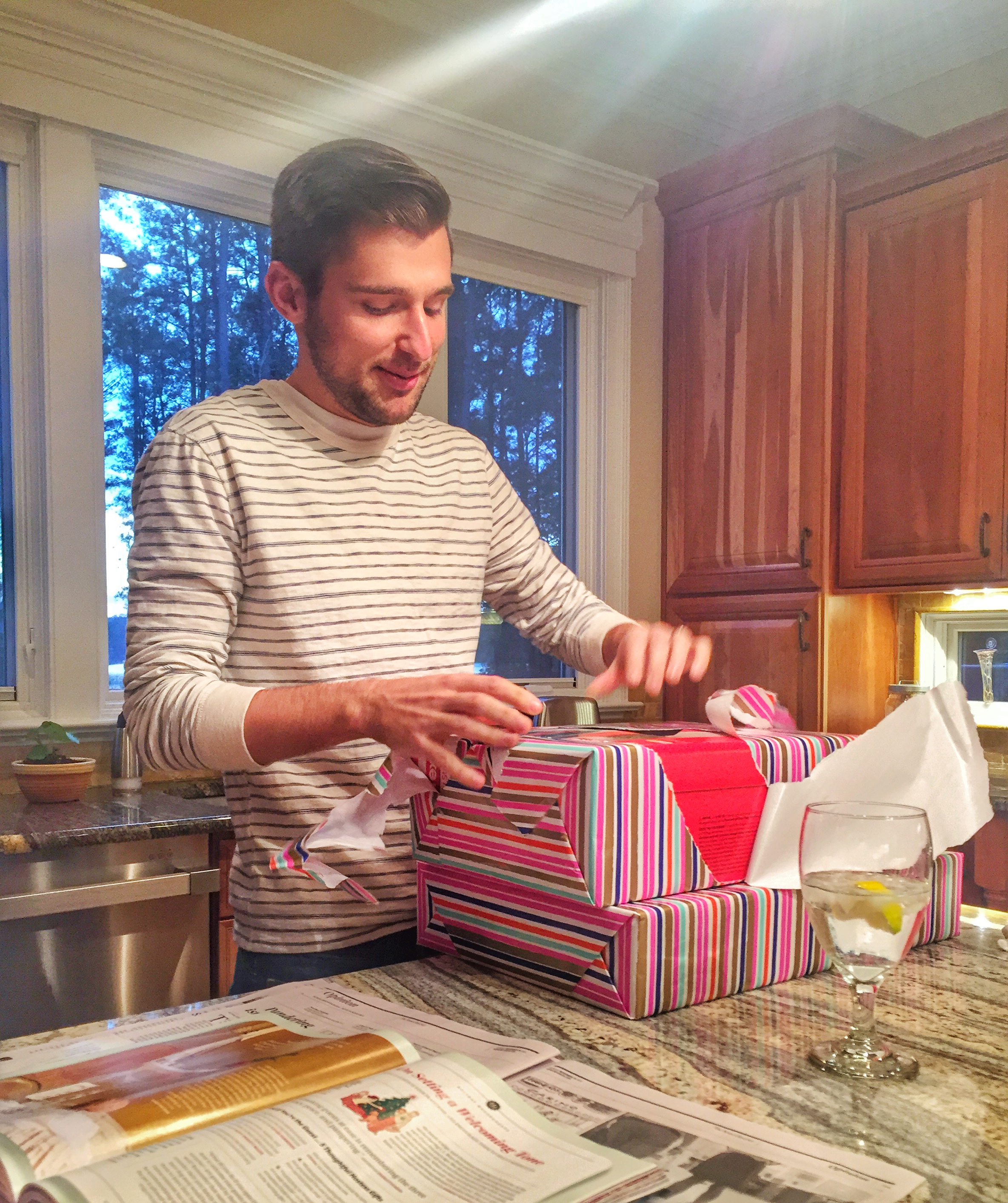 Opening birthday presents; Raleigh, NC